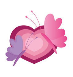 cute butterflies heart love romantic cartoon vector image