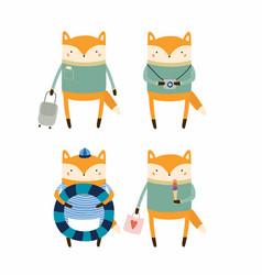 Cute fox on summer holidays vector