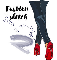 cute hand drawn legs in red court shoes fashion vector image