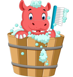 cute hippo bathing time vector image