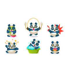 cute pandas characters set adorable chinese vector image