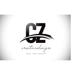 Cz c z letter logo design with swoosh and black vector