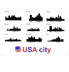 detailed silhouettes usa cities vector image