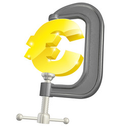 Euro sign in clamp concept vector