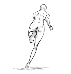 Female runner figure sketch From behind vector