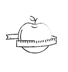 figure delicious apple fruit with tap measuring vector image