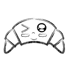 Figure kawaii cute funny croissant food vector