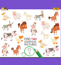 Find two identical farm animals task for children vector