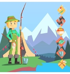 Fisherman And Thing Needed For Fishong Infographic vector