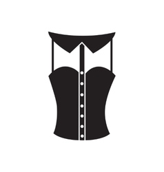 Flat icon in black and white women corset vector