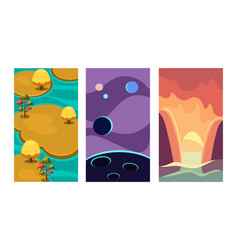 flat set of backgrounds for mobile game vector image