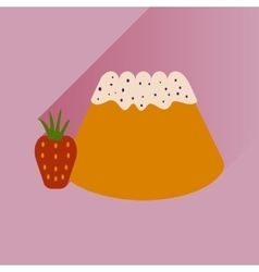 Flat with shadow icon bun strawberries on bright vector