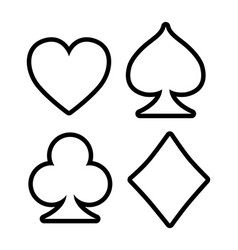 Four playing outline card signs on white vector