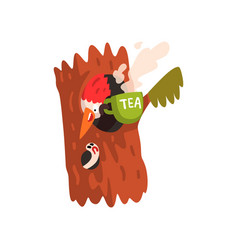 Funny woodpecker sitting in the hollow with a cup vector
