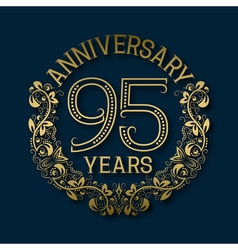 Golden emblem of ninety fifth years anniversary vector