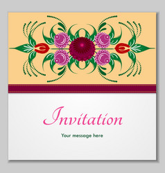 Greeting card with stylized flowers and ribbons vector