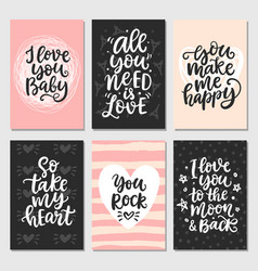Hand drawn valentines day collection lettering vector