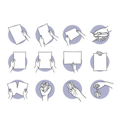 Hand holding a4 paper staple tearing crumpled and vector