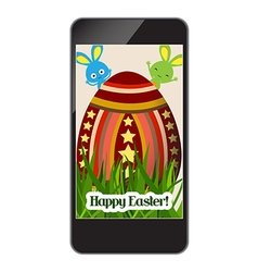 Happy easter with grass and egg on smartphone vector