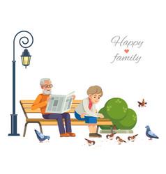 happy elderly couple feeding birds on a park vector image