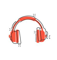 Headphone headset icon in comic style headphones vector