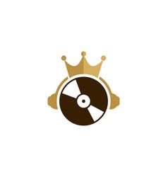 Headphone king logo icon design vector