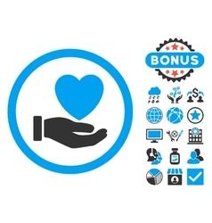 Heart Charity Flat Icon with Bonus vector image