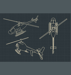 Helicopter blueprints vector