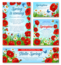 hello spring and springtime holidays floral banner vector image
