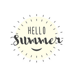 hello summer letters with smile vector image