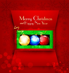 holiday open box with Christmas balls vector image