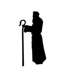 Holiday silhouettes christmas nativity shepherd vector