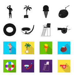 Isolated object of pool and swimming logo set of vector