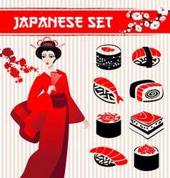 Japanese set vector image