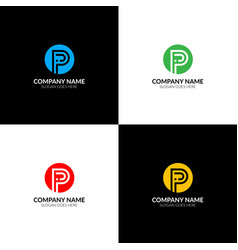 letter i and p logo icon flat and design vector image