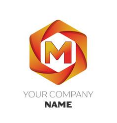 Letter m logo symbol on colorful hexagonal vector