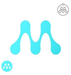 M letter - molecule logo vector