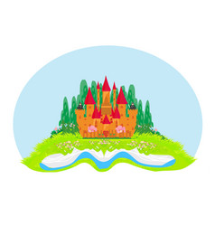 Magic world tales fairy castle appearing from vector