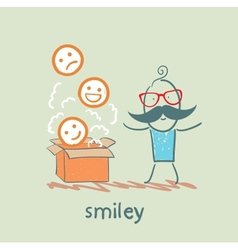 man opened the box with smiles vector image