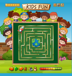 maze game on chalkboard game template vector image