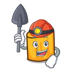 miner rigatoni mascot cartoon style vector image
