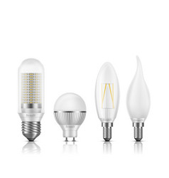 modern led bulbs types realistic set vector image