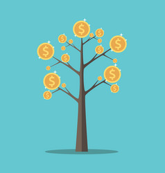 Money tree gold coins vector
