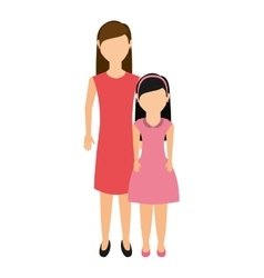 Mother with daughter isolated icon vector