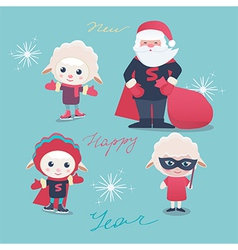 New Year and Christmas characters vector image