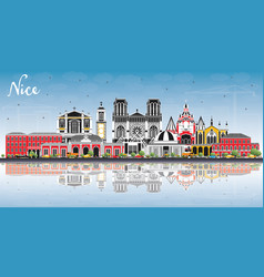 Nice france city skyline with color buildings vector