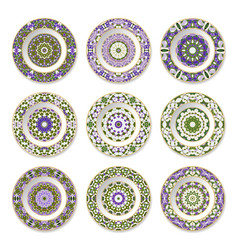 nine decorative plates with circular colored vector image