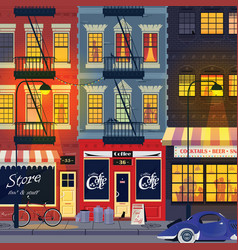 old city street night landscape vector image