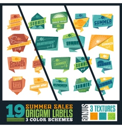 Origami Summer Sales Labels vector image