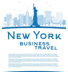 Outline New York city skyline vector